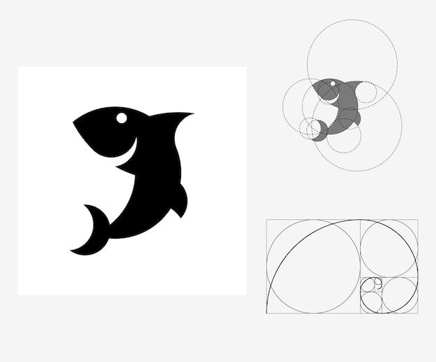 Tubarão de vetor no estilo de proporção áurea. ilustração editável