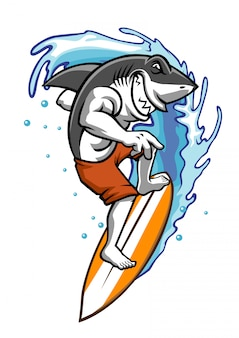Tubarão, desfrutando, jogo, surfar, ligado, a, água