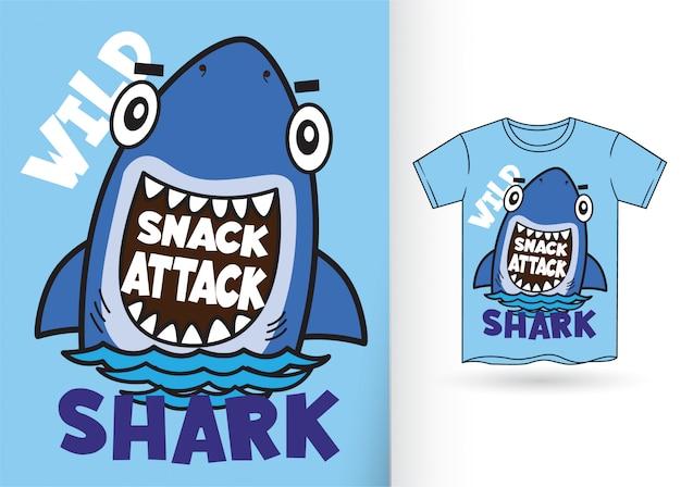 Tubarão dos desenhos animados para camiseta