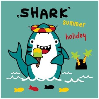 Tubarão em desenho animado animal engraçado nas férias de verão