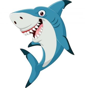 Tubarão engraçado dos desenhos animados, isolado no branco