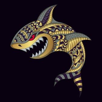 Tubarão estilizado em ilustração de estilo étnico