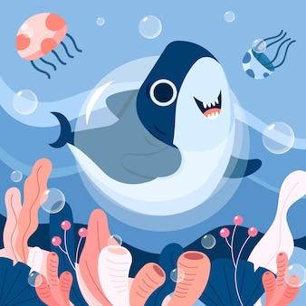 Tubarão feliz dançando ao lado de água-viva