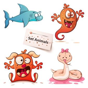 Tubarão, monstro, cobra - definir animais