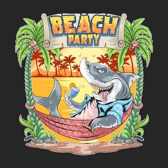 Tubarão na arte do partido da praia de verão