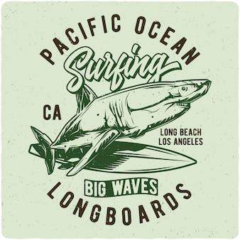 Tubarão na prancha de surf