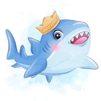 Tubarão pequeno bonito com ilustração em aquarela