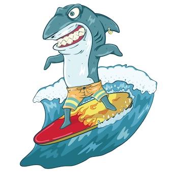 Tubarão surfando engraçado com expressão assustadora na prancha e onda com cor e contorno