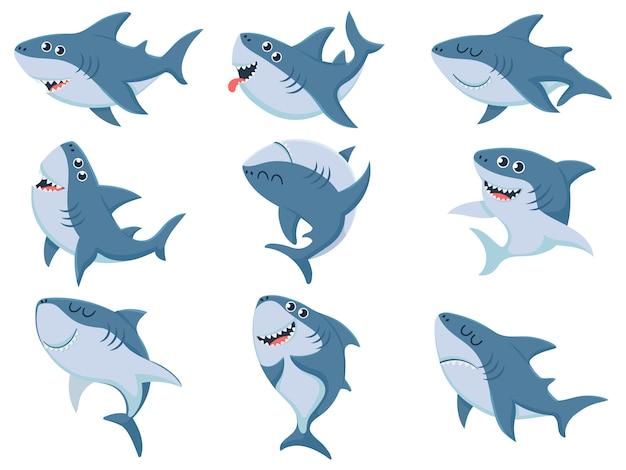 Tubarões dos desenhos animados. animais de tubarão em quadrinhos, mandíbulas assustadoras e oceano nadando conjunto de ilustração de tubarões bravos