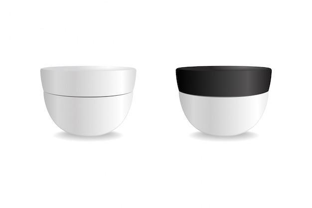 Tubo branco com tampa redonda preta. embalagem de vetor simulado modelo. mock up para o seu design