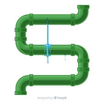 Tubo com vazamento em design plano