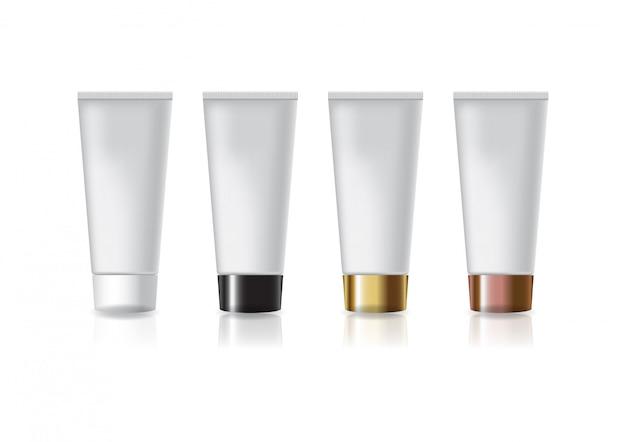 Tubo cosmético branco em branco com tampão de parafuso de quatro cores.