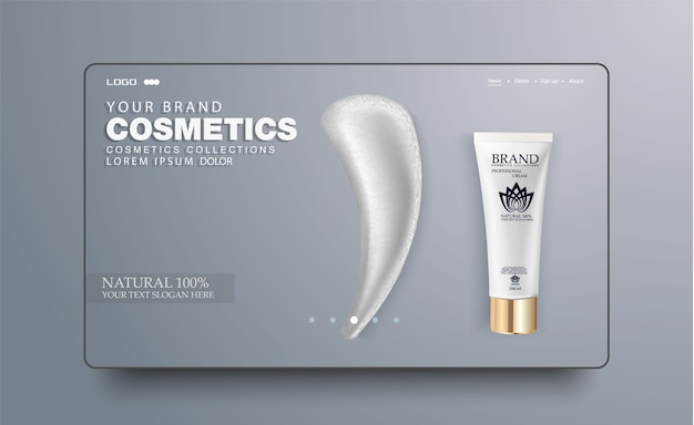 Tubo cosmético branco em branco