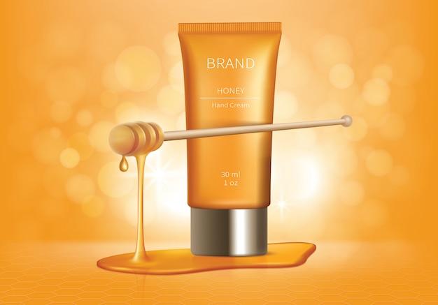 Tubo cosmético com gotas de mel