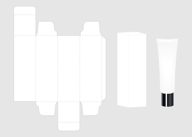 Tubo cosmético e embalagem caixa de maqueta cortada