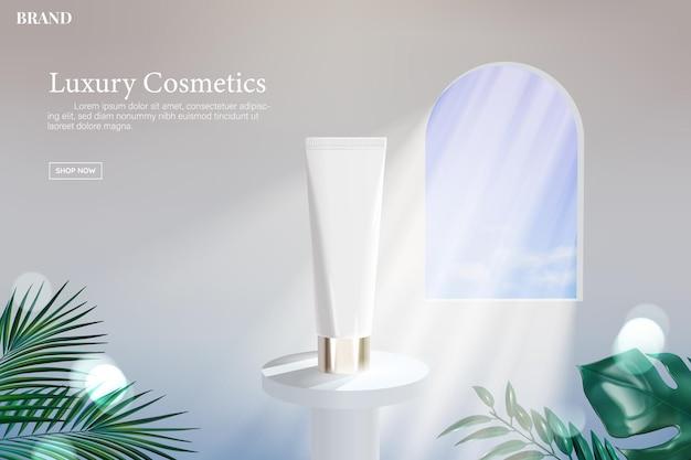 Tubo cosmético em suporte branco com luz entrando por uma janela e plantas tropicais, 3d