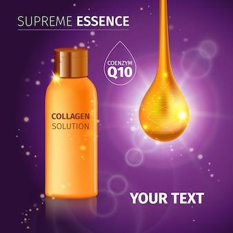 Tubo cosmético realista dourado com creme ou essência de solução de colágeno