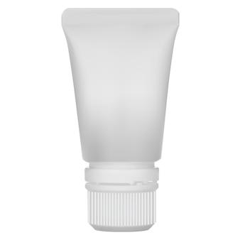 Tubo de bálsamo labial maquete de lipstic embalagem de cuidados cosméticos isolada em branco com tampa de rosca. pacote de pomada. pacote de creme para a pele