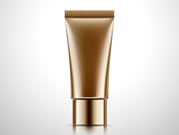 Tubo de bronze em branco, recipiente cosmético em fundo cinza claro na ilustração