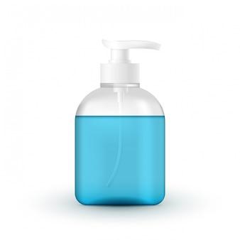 Tubo de cosméticos líquidos com bomba. protecção das mãos de coronavírus, recipiente realista de desinfetante para as mãos, gel de lavagem das mãos. álcool mão lavar gel com dispensador de bomba em fundo branco.