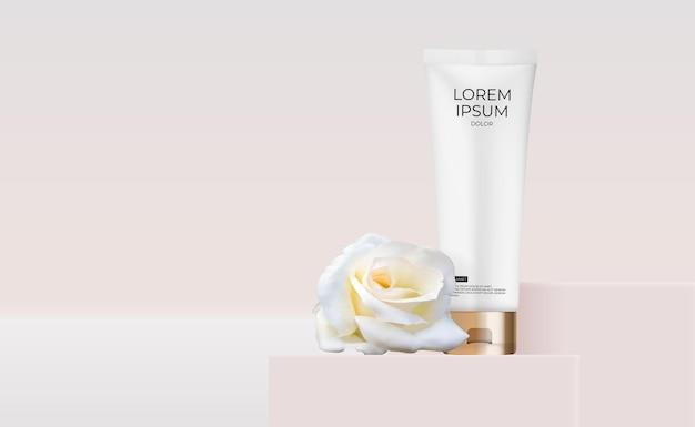 Tubo de creme 3d realista com flor rosa para produtos de cosméticos da moda
