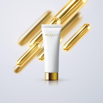 Tubo de creme cosmético com formas de cápsulas douradas em 3d