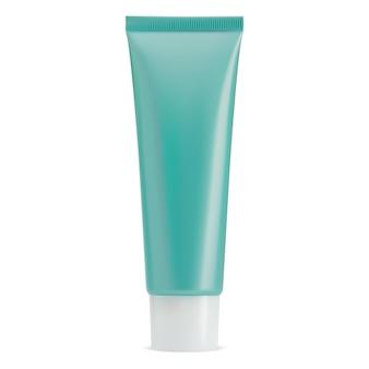 Tubo de creme cosmético com tampa branca maquete de frasco de creme em branco embalagem realista de pasta de dente brilhante