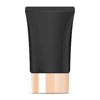 Tubo de creme cosmético preto largo com tampa dourada.