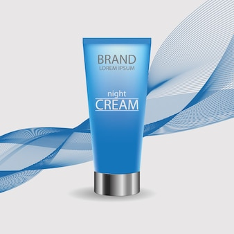 Tubo de creme. produtos cosméticos de design de embalagem. modelo para publicidade ou fundo de revista. garrafa azul em um pano de fundo de linha ondulada. ilustração vetorial.