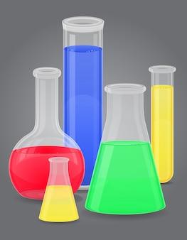 Tubo de ensaio de vidro com líquido de cor.