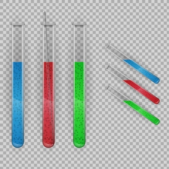 Tubo de ensaio transparente com líquidos.