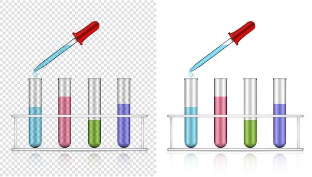 Tubo de ensaio transparente realista de plástico ou vidro para ciência
