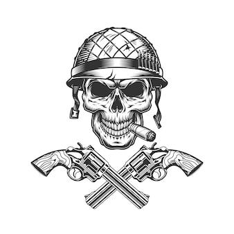 Tubo de fumo vintage crânio soldado monocromático