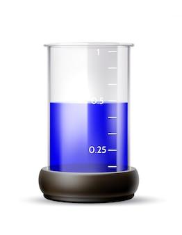 Tubo de laboratório químico realista de vetor com líquido azul