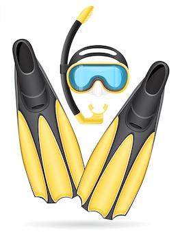 Tubo de máscara e nadadeiras para mergulho.