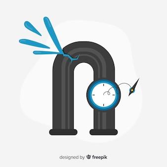 Tubo de metal rachado com manômetro