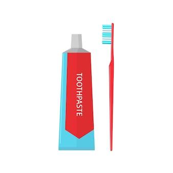 Tubo de pasta de dente e escova de dente em fundo branco