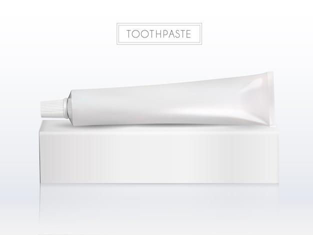 Tubo de pasta de dente em branco com caixa de papel
