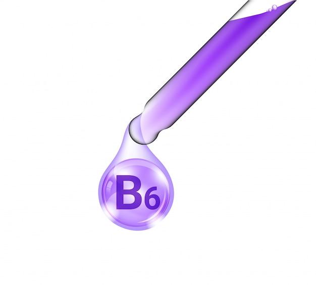Tubo de pipeta, conta-gotas cosmético realista e óleo de vitamina b6 para produtos de cuidados com a pele e beleza na isolado