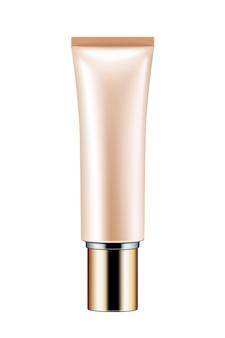 Tubo de plástico, modelo de recipiente cosmético em branco sobre fundo branco na ilustração