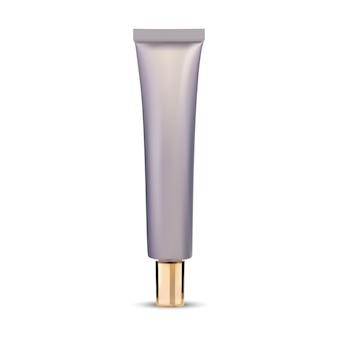 Tubo de pomada. maquete do recipiente cosmético do creme para os olhos. frasco de aperto de soro para olhos simulado com tampa de ouro, design de plástico em branco. modelo de tubo alto para a essência, ilustração vetorial