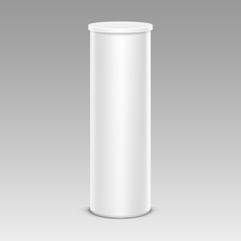 Tubo de recipiente de caixa de lata de batatas fritas brancas para design de embalagem fechar isolado no fundo