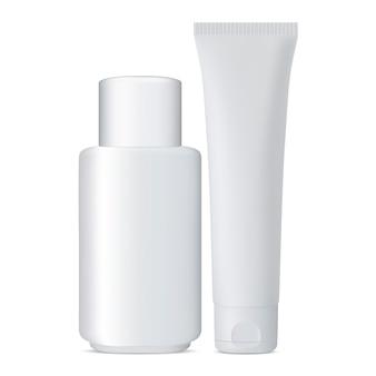 Tubo e frasco cosmético conjunto frasco branco