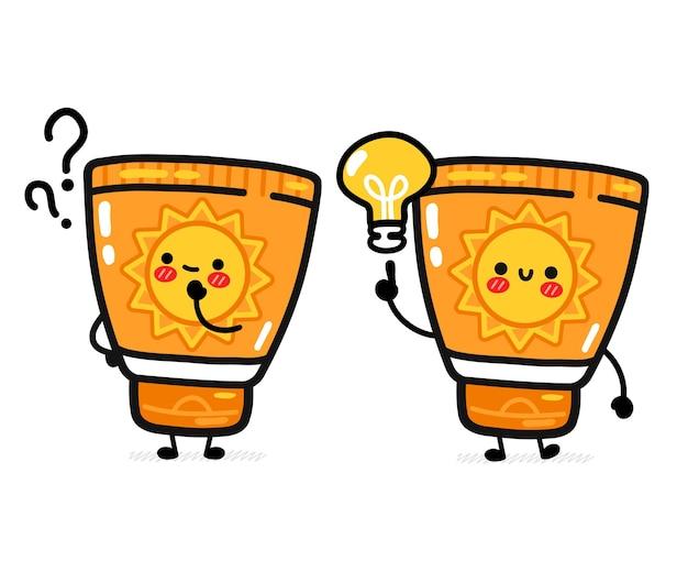 Tubo protetor solar fofo e engraçado com ponto de interrogação e lâmpada de ideia