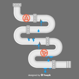 Tubo quebrado de design plano com válvulas