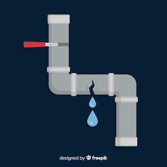Tubo quebrado vazando água em design plano