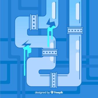 Tubo rachado de design plano vazando água