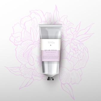 Tubo realista em branco para cosméticos. ilustração de flores peônias