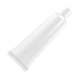 Tubo vazio branco de pasta de dente, loção, cosméticos etc. isolado no fundo branco. ilustração para branding