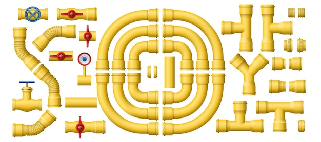 Tubos amarelos do gasoduto. Vetor Premium